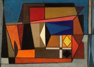 "Interior, 1955, oil on canvas, 22x32"""