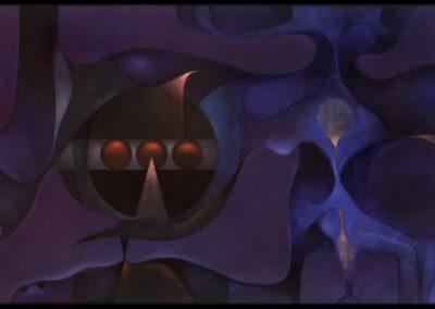 """Más allá del azul, 1978, oil on canvas, 30x50"""""""