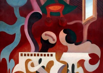 Músicos tocando un órgano, 1949, oil on wood, 72x48""