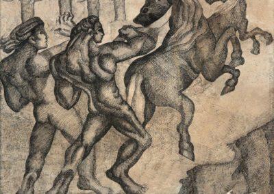 "Desenfreno, 1940s, ink on paper, 17x21"""