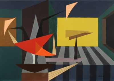Interior, 1953, gouache on paper, 22x32""
