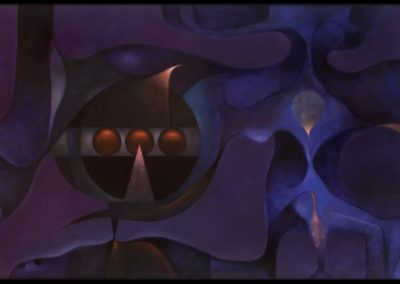 """Más allá del azul, 1978, 3oil on canvas, 30x50"""""""